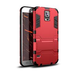 Coque Contour Silicone et Plastique Housse Etui Mat avec Support pour Samsung Galaxy S5 Duos Plus Rouge