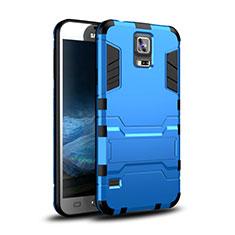 Coque Contour Silicone et Plastique Housse Etui Mat avec Support pour Samsung Galaxy S5 G900F G903F Bleu
