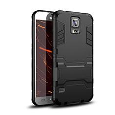 Coque Contour Silicone et Plastique Housse Etui Mat avec Support pour Samsung Galaxy S5 G900F G903F Noir
