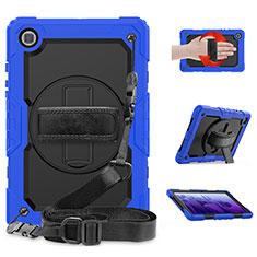 Coque Contour Silicone et Plastique Housse Etui Mat avec Support pour Samsung Galaxy Tab A7 Wi-Fi 10.4 SM-T500 Bleu