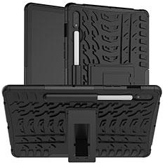 Coque Contour Silicone et Plastique Housse Etui Mat avec Support pour Samsung Galaxy Tab S7 4G 11 SM-T875 Noir