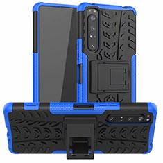 Coque Contour Silicone et Plastique Housse Etui Mat avec Support pour Sony Xperia 1 II Bleu