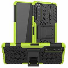 Coque Contour Silicone et Plastique Housse Etui Mat avec Support pour Sony Xperia 1 II Vert