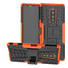 Coque Contour Silicone et Plastique Housse Etui Mat avec Support pour Sony Xperia 1 Orange
