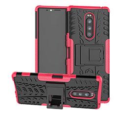 Coque Contour Silicone et Plastique Housse Etui Mat avec Support pour Sony Xperia 1 Rose Rouge