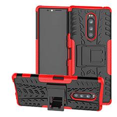 Coque Contour Silicone et Plastique Housse Etui Mat avec Support pour Sony Xperia 1 Rouge