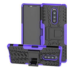 Coque Contour Silicone et Plastique Housse Etui Mat avec Support pour Sony Xperia 1 Violet