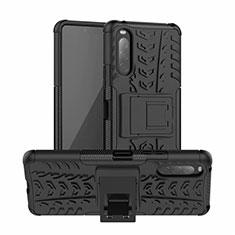 Coque Contour Silicone et Plastique Housse Etui Mat avec Support pour Sony Xperia 10 II Noir