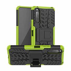 Coque Contour Silicone et Plastique Housse Etui Mat avec Support pour Sony Xperia 10 II Vert