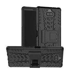 Coque Contour Silicone et Plastique Housse Etui Mat avec Support pour Sony Xperia 10 Noir