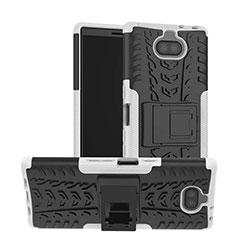Coque Contour Silicone et Plastique Housse Etui Mat avec Support pour Sony Xperia 10 Plus Blanc