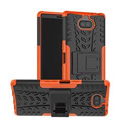 Coque Contour Silicone et Plastique Housse Etui Mat avec Support pour Sony Xperia 10 Plus Orange