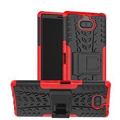 Coque Contour Silicone et Plastique Housse Etui Mat avec Support pour Sony Xperia 10 Plus Rouge