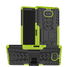 Coque Contour Silicone et Plastique Housse Etui Mat avec Support pour Sony Xperia 10 Vert