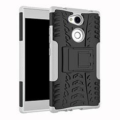 Coque Contour Silicone et Plastique Housse Etui Mat avec Support pour Sony Xperia L2 Blanc