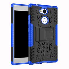 Coque Contour Silicone et Plastique Housse Etui Mat avec Support pour Sony Xperia L2 Bleu