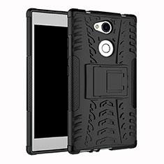Coque Contour Silicone et Plastique Housse Etui Mat avec Support pour Sony Xperia L2 Noir