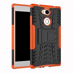 Coque Contour Silicone et Plastique Housse Etui Mat avec Support pour Sony Xperia L2 Orange
