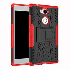 Coque Contour Silicone et Plastique Housse Etui Mat avec Support pour Sony Xperia L2 Rouge