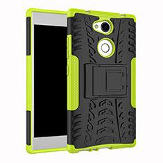 Coque Contour Silicone et Plastique Housse Etui Mat avec Support pour Sony Xperia L2 Vert