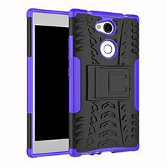 Coque Contour Silicone et Plastique Housse Etui Mat avec Support pour Sony Xperia L2 Violet