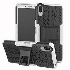 Coque Contour Silicone et Plastique Housse Etui Mat avec Support pour Sony Xperia L3 Argent