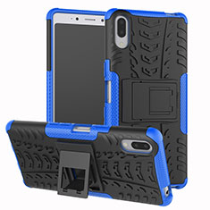Coque Contour Silicone et Plastique Housse Etui Mat avec Support pour Sony Xperia L3 Bleu