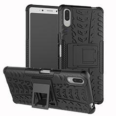 Coque Contour Silicone et Plastique Housse Etui Mat avec Support pour Sony Xperia L3 Noir