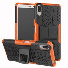 Coque Contour Silicone et Plastique Housse Etui Mat avec Support pour Sony Xperia L3 Orange