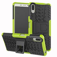 Coque Contour Silicone et Plastique Housse Etui Mat avec Support pour Sony Xperia L3 Vert