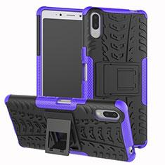 Coque Contour Silicone et Plastique Housse Etui Mat avec Support pour Sony Xperia L3 Violet