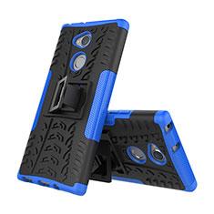 Coque Contour Silicone et Plastique Housse Etui Mat avec Support pour Sony Xperia XA2 Bleu