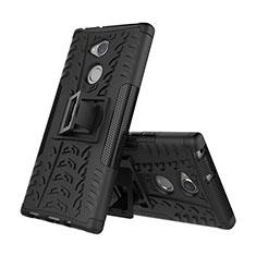 Coque Contour Silicone et Plastique Housse Etui Mat avec Support pour Sony Xperia XA2 Noir