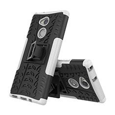 Coque Contour Silicone et Plastique Housse Etui Mat avec Support pour Sony Xperia XA2 Plus Blanc