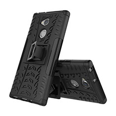 Coque Contour Silicone et Plastique Housse Etui Mat avec Support pour Sony Xperia XA2 Plus Noir