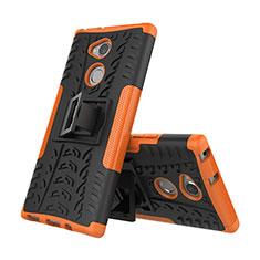 Coque Contour Silicone et Plastique Housse Etui Mat avec Support pour Sony Xperia XA2 Plus Orange