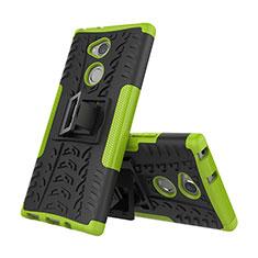 Coque Contour Silicone et Plastique Housse Etui Mat avec Support pour Sony Xperia XA2 Plus Vert
