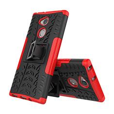 Coque Contour Silicone et Plastique Housse Etui Mat avec Support pour Sony Xperia XA2 Rouge