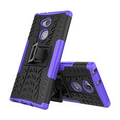 Coque Contour Silicone et Plastique Housse Etui Mat avec Support pour Sony Xperia XA2 Violet