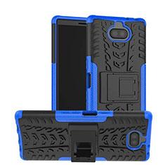 Coque Contour Silicone et Plastique Housse Etui Mat avec Support pour Sony Xperia XA3 Bleu