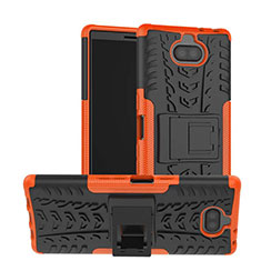 Coque Contour Silicone et Plastique Housse Etui Mat avec Support pour Sony Xperia XA3 Orange