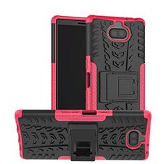 Coque Contour Silicone et Plastique Housse Etui Mat avec Support pour Sony Xperia XA3 Rose Rouge