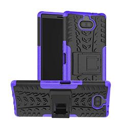 Coque Contour Silicone et Plastique Housse Etui Mat avec Support pour Sony Xperia XA3 Violet