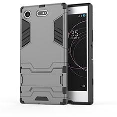 Coque Contour Silicone et Plastique Housse Etui Mat avec Support pour Sony Xperia XZ1 Compact Gris