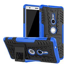Coque Contour Silicone et Plastique Housse Etui Mat avec Support pour Sony Xperia XZ2 Bleu