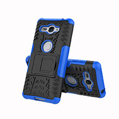 Coque Contour Silicone et Plastique Housse Etui Mat avec Support pour Sony Xperia XZ2 Compact Bleu
