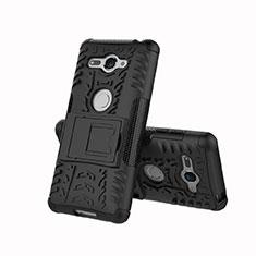 Coque Contour Silicone et Plastique Housse Etui Mat avec Support pour Sony Xperia XZ2 Compact Noir