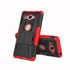 Coque Contour Silicone et Plastique Housse Etui Mat avec Support pour Sony Xperia XZ2 Compact Rouge