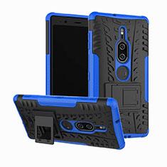 Coque Contour Silicone et Plastique Housse Etui Mat avec Support pour Sony Xperia XZ2 Premium Bleu