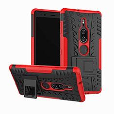 Coque Contour Silicone et Plastique Housse Etui Mat avec Support pour Sony Xperia XZ2 Premium Rouge
